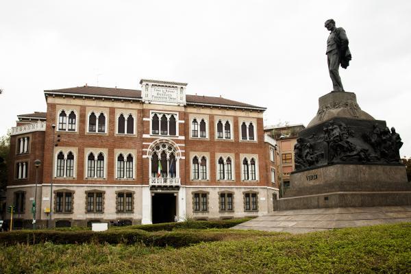 The exterior of Casa Verdi, founded by famed Italian composer Giuseppe Verdi in the late 1890s.