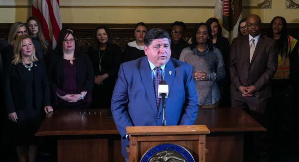 J.B. Pritzker speaks to reporters on his first full day in office (Jan. 15, 2019).