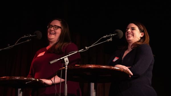 Contestants compete in the final round <em>Ask Me Another</em> at the Bell House in Brooklyn, New York.