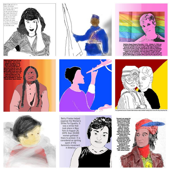 """Posters done by Marc Nelson's students for their """"People's History"""" projects. Click thru the slideshow to see them individually."""