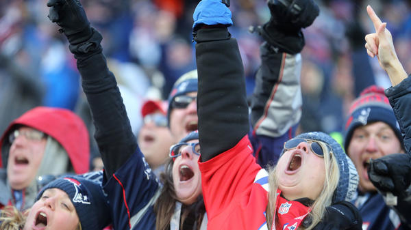 Fans cheer at Gillette Stadium in Foxborough, Mass., on Jan. 13. What stuff do you do to help your team?