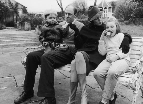 """Writer Roald Dahl and his wife, actress Patricia Neal, with two of their children, Theo and Chantel Sophia """"Tessa."""" The photo was taken a few years after oldest daughter, Olivia, died of measles."""