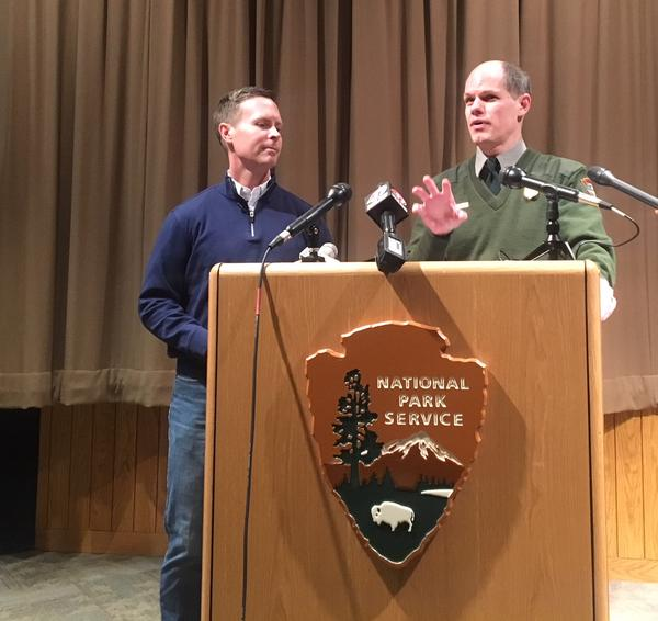 U.S. Rep. Rodney Davis (left) with Lincoln Home National Historic Site Superintendent Tim Good on Feb. 1.