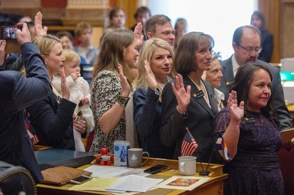The five newly elected women, all Democrats, who helped their party regain control of the Senate: Jessie Danielson (from left), holding daughter Isabelle Beth Kabza; Kerry Donovan, Brittany Pettersen, Tammy Story and Faith Winter.