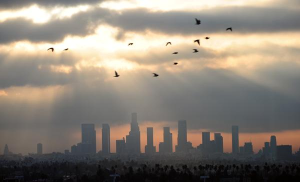<em>Dear Los Angeles </em>features snippets of diary entries and letters written between 1542 to 2018. Above, daybreak over downtown LA in December 2011.
