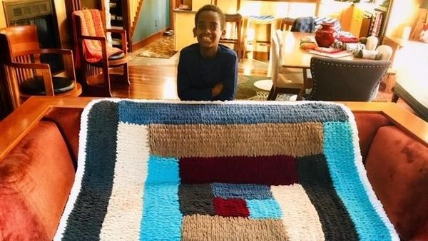 Eleven-year-old Jonah Larson's favorite hobby is crocheting, which he turned into a business. He made this blanket in January during a snow day from school.