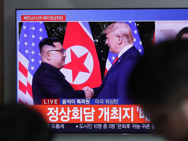 A TV screen shows file footage of President Trump and North Korean leader Kim Jong Un during a news program seen at the Seoul Railway Station in Seoul, South Korea, Wednesday. During Trump's State of the Union address, he announced that the second summit with the North Korean leader will take place this month.