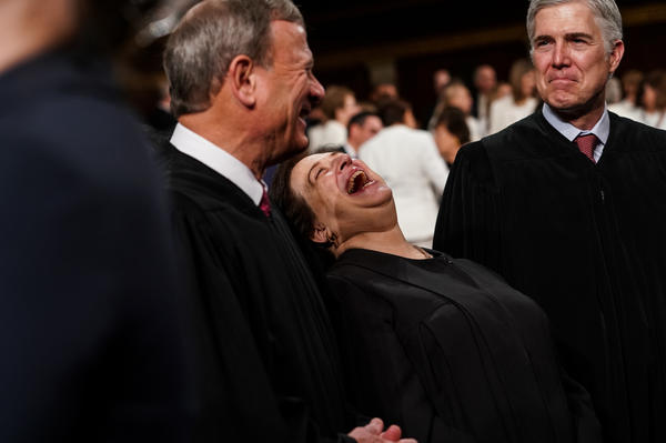 Supreme Court Justices John Roberts, Elena Kagan and Neil Gorsuch attend the State of the Union address.