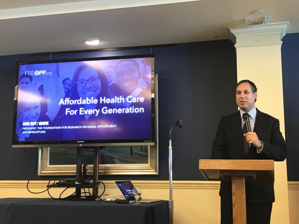 Avik Roy, President of the Foundation for Research on Equal Opportunity, recently presented his plan for universal health care at the Bird Key Yacht Club in Sarasota.