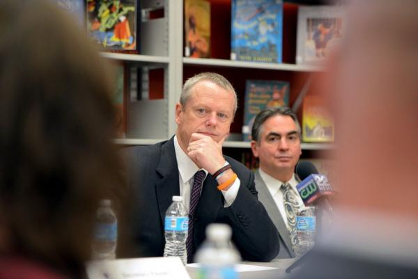 Governor Charlie Baker and Mayor Domenic Sarno visited Forest Park Middle School in Springfield, Massachusetts, in May 2017.