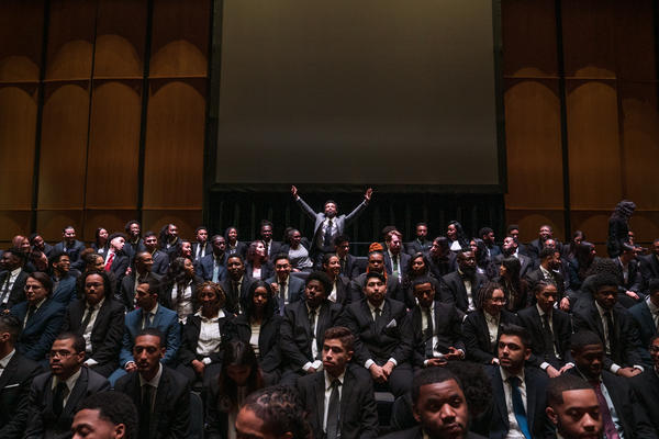 Year Up students celebrate during their graduation ceremony at Northern Virginia Community College in Woodbridge, Va.