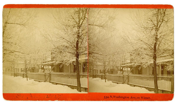 A photograph, taken by one of the Goodridge brothers, shows Byron B. Buckhout's home, located at 534 N. Washington Ave., during the winter of 1879.