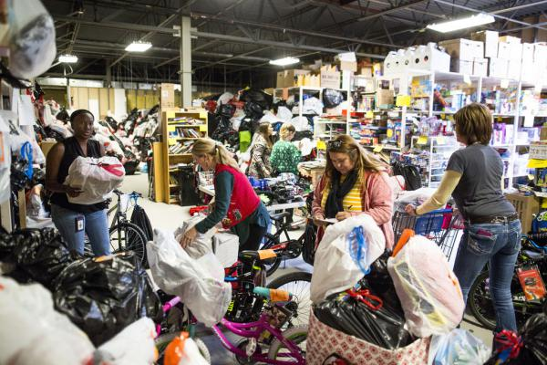 The Holiday Wishes warehouse at Partnerships for Children in north Austin. It's a Central Texas nonprofit that aims to empower and support abused and neglected children in the care of Child Protective Services.