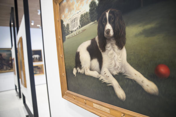 "The painting ""Millie on the South Lawn"" by Christine Merrill hangs at the American Kennel Club Museum of the Dog."