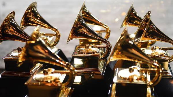 Grammy trophies sit in the press room during the 60th Annual Grammy Awards, held in New York in Jan. 2018.