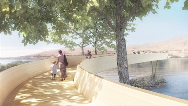 Artist Maya Lin's design for Celilo Park included an elevated arc that would end at the edge of the now-flooded historic falls on the Columbia River.