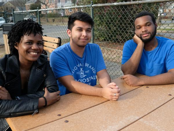 Summer Campbell (from left), Geovanny Mejia and Justin Daniels, students at Thomas Jefferson High School in Richmond, Va., are talking about the recent scandals unfolding at their state Capitol.