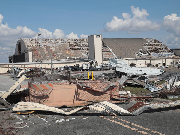 Debris litters Tyndall Air Force Base following Hurricane Michael in October 2018. Now the Air Force is rebuilding the base to be more resistant to future storms.