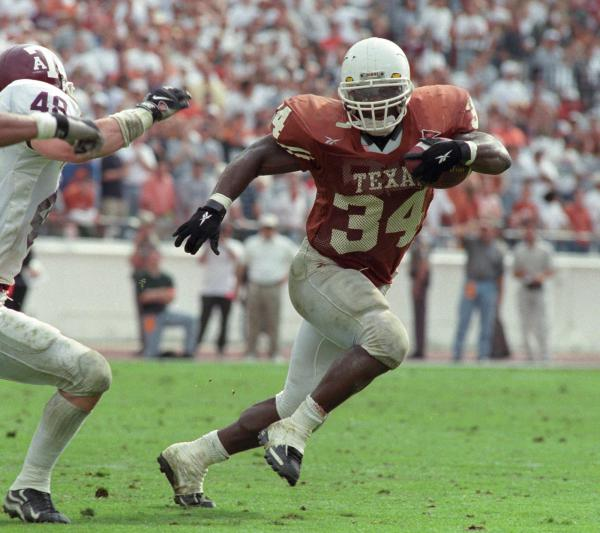 UT Longhorns running back Ricky Williams during the team's 26-24 victory over Texas A&M in 1998.