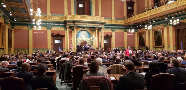 The House chamber Tuesday evening, where Whitmer delivered her first State of the State address.