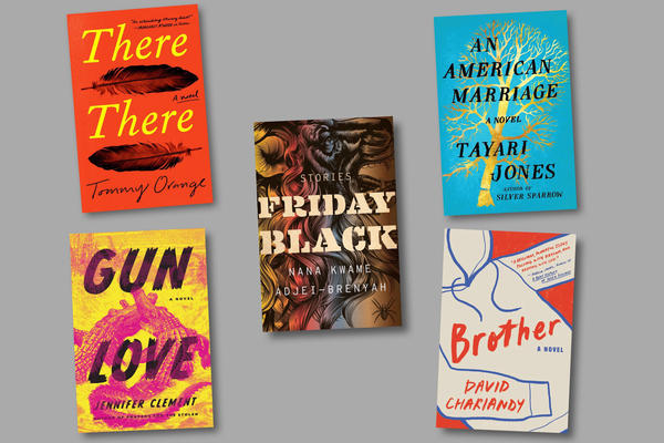 The 2019 Aspen Words Literary Prize shortlist (clockwise from top left): <em>There There</em>, by Tommy Orange; <em>Friday Black</em>, by Nana Kwame Adjei-Brenyah; <em>An American Marriage</em>, by Tayari Jones<em></em>; <em>Brother</em>, by David Chariandy; and <em>Gun Love</em>, by Jennifer Clement.
