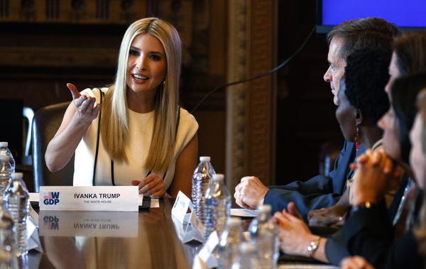Ivanka Trump speaks at a roundtable for the Women's Global Development and Prosperity Initiative at the White House on February 7.