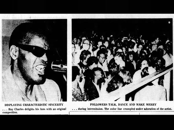 """Photos from Ray Charles' 1961 performance at Campbell Park in St. Petersburg. The reporter who covered the event said """"the color barrier 'dissolved' itself in the wake of admiration for a performer."""""""
