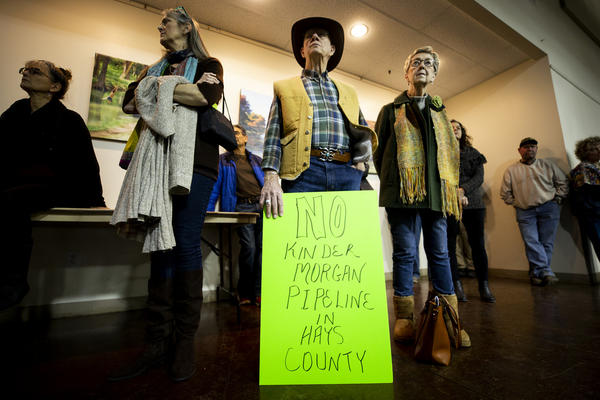 Residents attend a community meeting in Wimberley last month to discuss a planned natural gas pipeline through Hays County.
