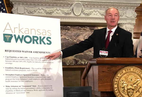 Arkansas Gov. Asa Hutchinson announces changes to the state Medicaid program called Arkansas Works, including the addition of a work requirement for certain beneficiaries, on March 6, 2017.