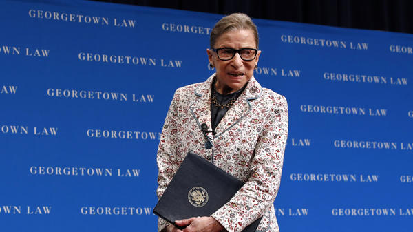 Supreme Court Justice Ruth Bader Ginsburg, after speaking to law students last September. She is back in the courtroom for oral arguments on Tuesday for the first time since lung cancer surgery in December.