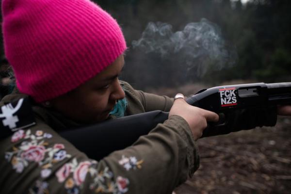<p>Rosie Strange, a leftist activist who chose to buy a handgun for self defense, fires a friend's shotgun on February 2, 2019, in Hood River, Oregon.</p>