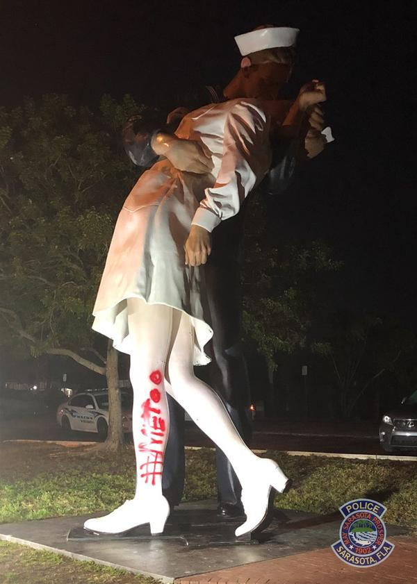 """#MeToo graffiti was discovered scrawled onto the leg of the woman being kissed in Sarasota's """"Unconditional Surrender"""" statue."""