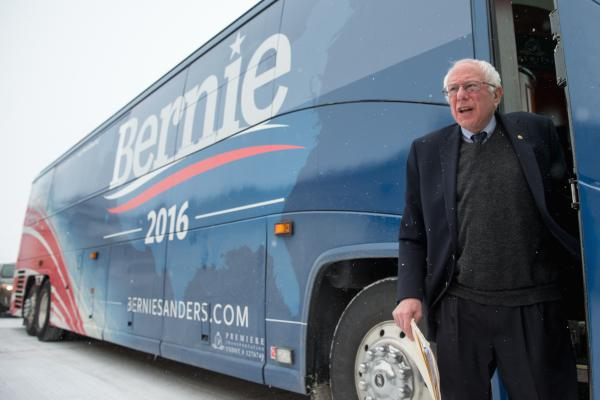 Sen. Bernie Sanders stands outside his campaign bus in Carroll, Iowa, on Jan. 19, 2016. Sanders announced Tuesday that he's running for president in 2020.