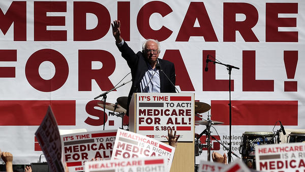 Sen. Bernie Sanders, I-Vt., promotes his Medicare-for-all proposal at the 2017 Convention of the California Nurses Association/National Nurses Organizing Committee in San Francisco, Calif., an issue that is dominating the early debate in the 2020 presidential contest.