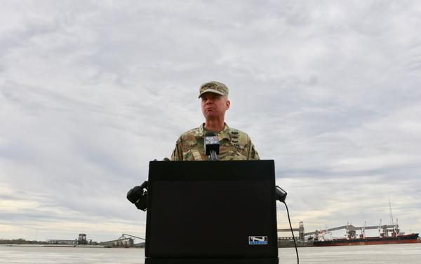 Colonel Michael Clancy announces that the US Army Corps of Engineers will begin operating the Bonnet Carre Spillway in Norco later this week.