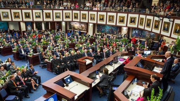 Former Gov. Rick Scott is pictured addressing the Legislature in this file photo. Gov. Ron DeSantis will deliver his first State of the State address on March 5.
