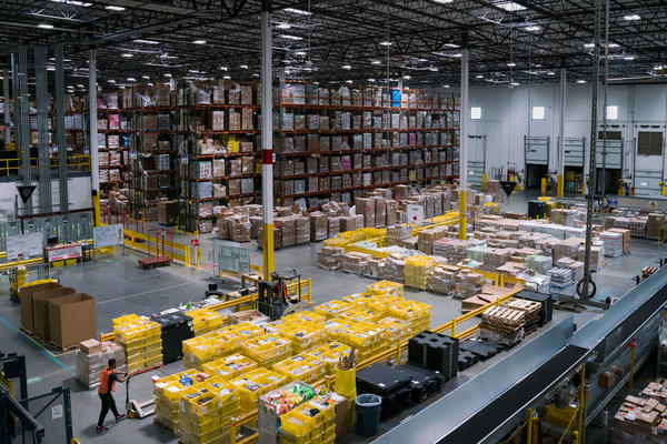 Amazon has built a massive warehousing footprint around the country, including this Inside an Amazon fulfillment center in Baltimore. And it's been adding smaller warehouses closer to city centers where Prime Now promotes super-fast delivery options.