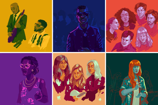 Sketches of performers from NPR Music's Tiny Desk concerts. Top row, left to right: The Midnight Hour, dvsn, Dirty Projectors. Bottom row, left to right: Liniker e os Caramelows, boygenius, Florence + The Machine.