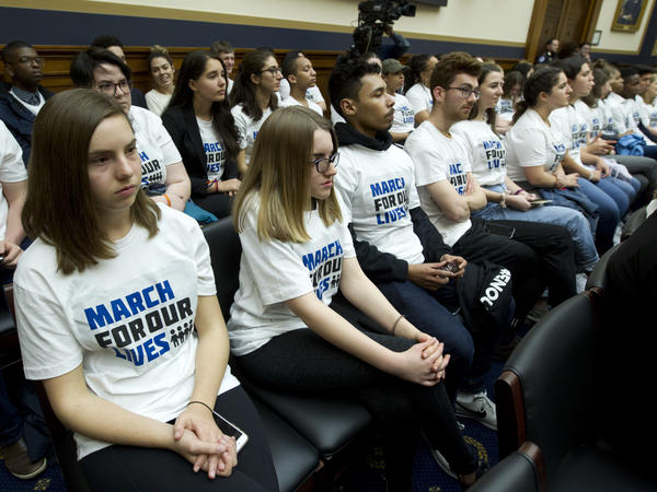 "Students in ""March For Our Lives"" shirts sat in the House Judiciary Committee hearing on gun violence on Feb. 6."