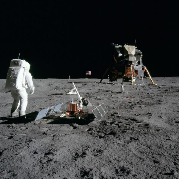 Astronaut Buzz Aldrin walks on the moon during the Apollo 11 mission in 1969. The landing site at Tranquility Base has remained mostly untouched — though that could change as more nations and even commercial companies start to explore the moon.