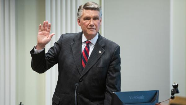Mark Harris, Republican candidate in North Carolina's 9th Congressional District race, prepares to testify on Thursday, the fourth day of the State Board of Elections hearing.