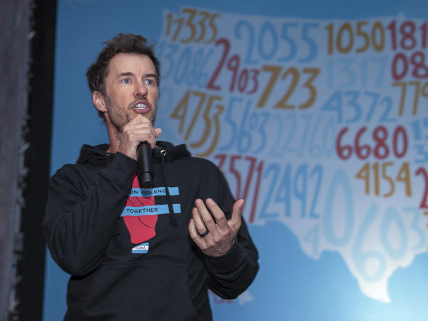 Blake Mycoskie attends the TOMS' End Gun Violence Together Rally, Feb. 11, 2019 in Washington, D.C. Mycoskie, the founder of TOMS shoes, is one of four business leaders asking Congress to pass a bill requiring background checks on all gun sales.