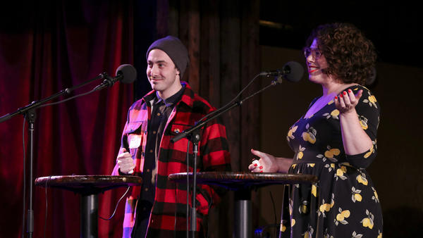 Contestants Joel Kotler and Allison Kave appear on Ask Me Another at the Bell House in Brooklyn, New York.