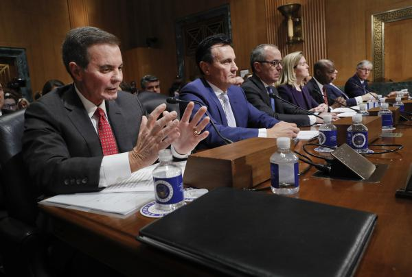 Drug prices in the United States support spending on research and development, said AbbVie CEO Richard Gonzalez (far left) in testimony by drug company executives before the Senate Finance Committee on Tuesday.
