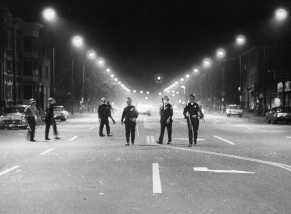 Police patrol Hartford's Main Street on September 19, 1967. Photograph by Ellery G. Kingston from the Hartford Times Collection.