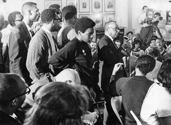 Reverend Robert A. Moody, pastor of Hartford's Shiloh Baptist Church from 1929 to 1975, speaks at a Black Caucus Meeting in Hartford on September 22, 1967. Photograph by Grover W. Grogan from the Hartford Times Collection.