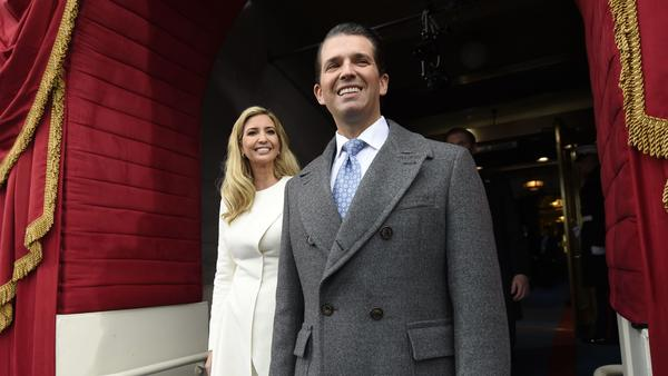 Donald Trump Jr. and Ivanka Trump, seen at President Trump's January 2017 inauguration, were both briefed repeatedly on a potential Trump Tower Moscow project, according to former lawyer Michael Cohen.
