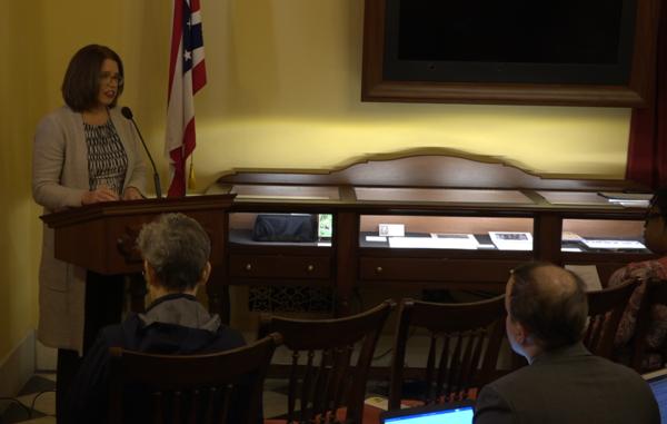 Ohio Federation of Teachers President Melissa Cropper speaks to reporters