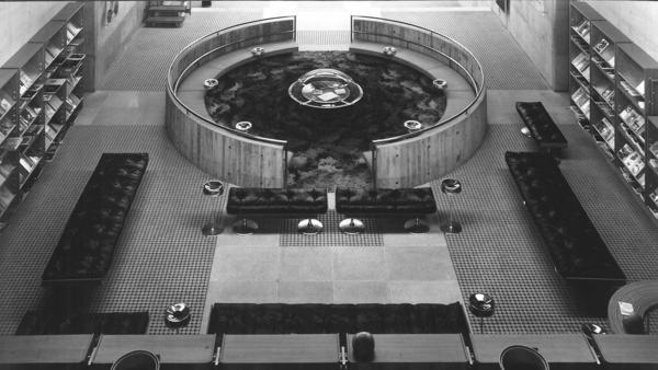 An interior view of the Oita Prefectural Library, which Arata Isozaki designed.