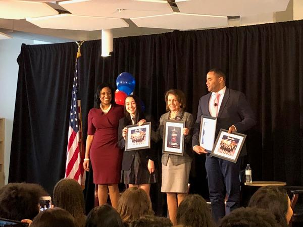 House Speaker Nancy Pelosi visited the Young Women's Leadership Academy in Fort Worth on Monday. She joined Democratic Congressman Marc Veasey and Principal Tamara Albury on stage to talk to students about leadership.
